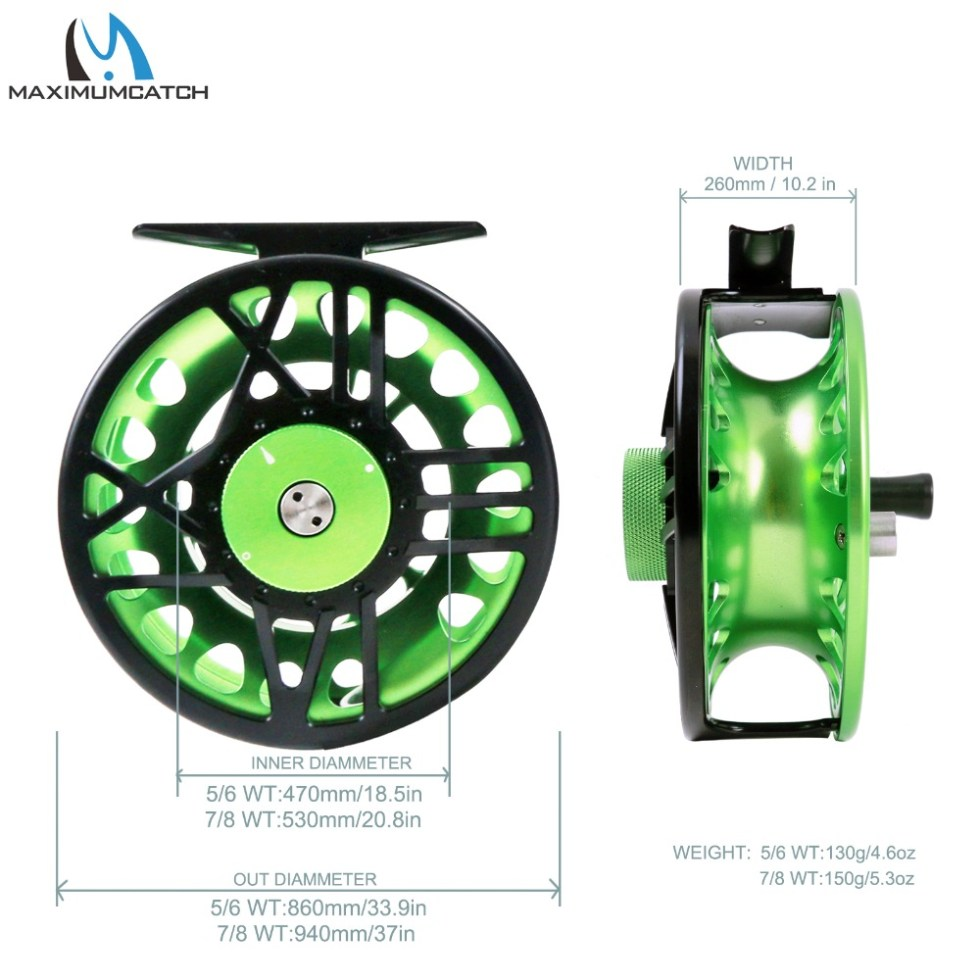 Maximumcatch TimeFly 5/6/7/8wt Fly Reel CNC Machined Cut Aluminum Teflon Disc Drag System Fly Fishing Reel Blue/Green Color 5