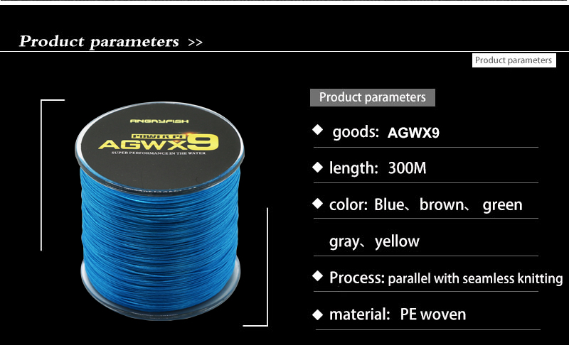 Angryfish 9 Strands Weaves Braided 500M Fishing Line Super Strong PE Line 15LB-100LB 5