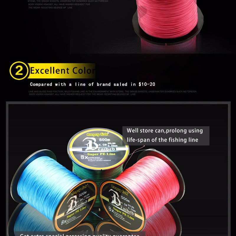 Angryfish Wholesale 500 Meters 8X Braided Fishing Line 11 Colors Super Strong PE Line 9