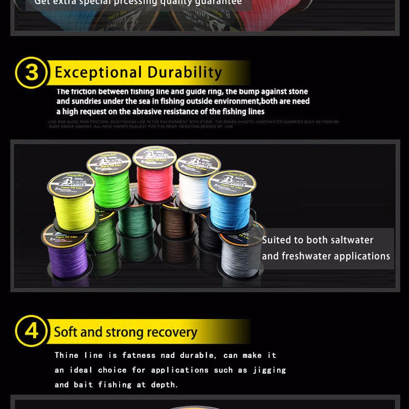 Angryfish Wholesale 500 Meters 8X Braided Fishing Line 11 Colors Super Strong PE Line 10