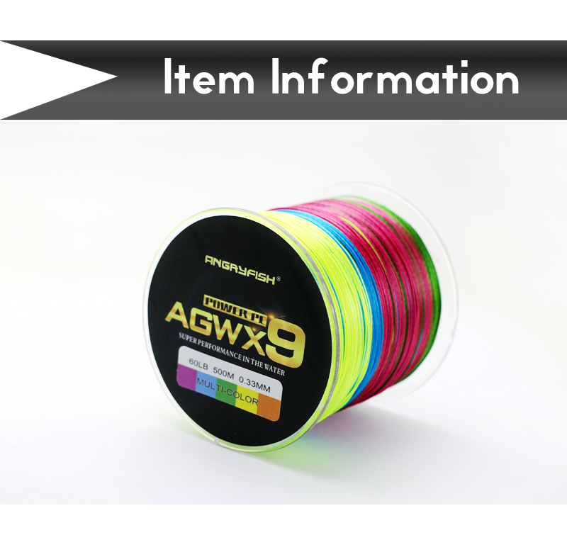Angryfish 500M 9 Strands Super Multicolor PE Braided Fishing Line Strong Strength Fish Line 4