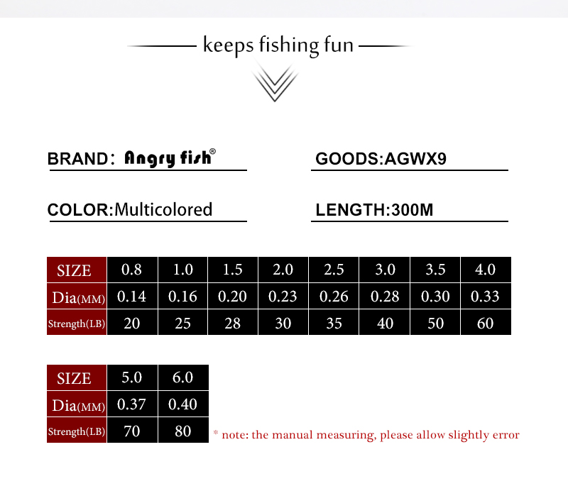 Angryfish 300M 9 Strands Super Weave Multicolor PE Braided Fishing Line Strong Strength Fish Line 5