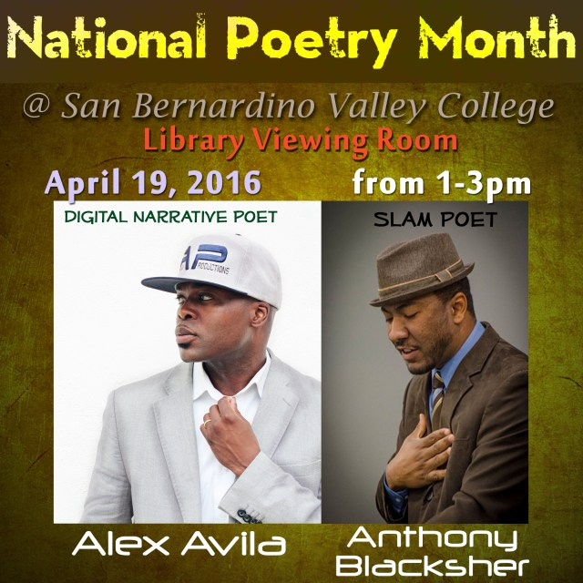 Performance at San Bernardino Valley College for National Poetry Month