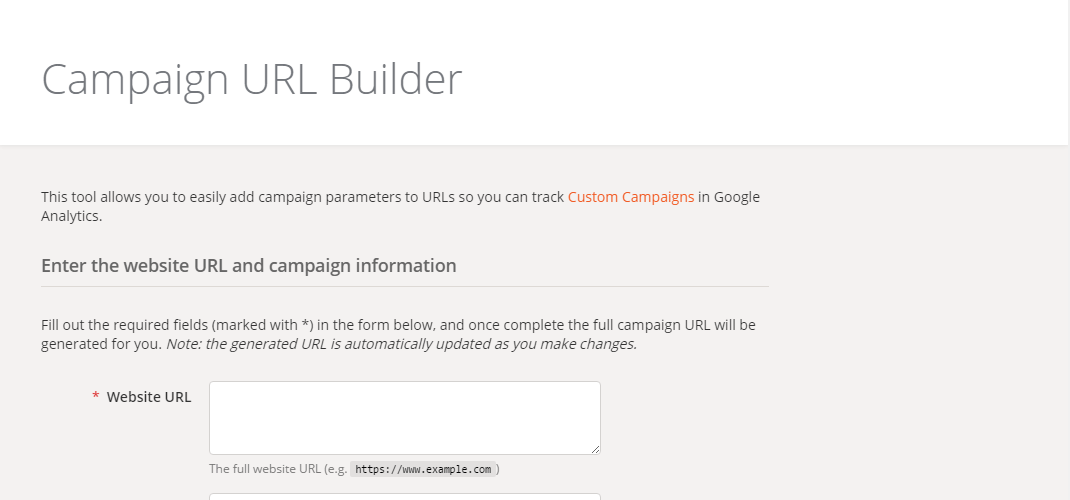 Digital Marketing Tool Google Analytics URL Builder