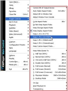 KMplayer screen options