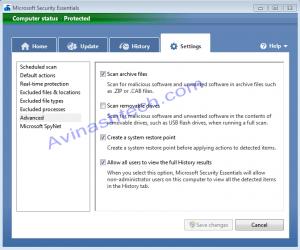 Microsoft Security essentials options