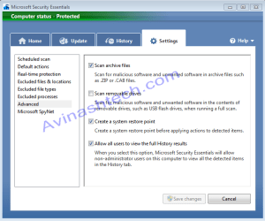 Microsoft Security essentials options
