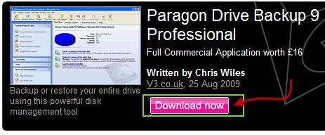 Paragon driver backup prof.