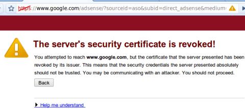 adsense certificate revoked