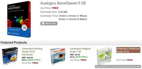 Grab Auslogics BoostSpeed 5, Ashampoo Burning Studio 2010 Advanced, Magical Snap, Slideshow Studio for Free 1