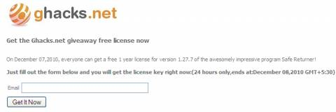 Giveaway: Free Safe Returner  license for Everyone 2