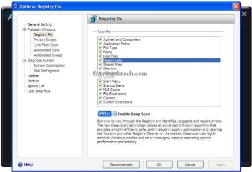 iobit registry fix options