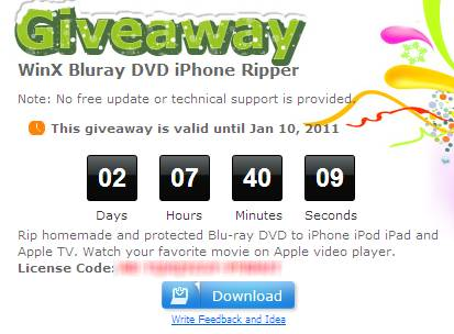 Free WinX Bluray DVD iPhone Ripper license key Giveaway 2
