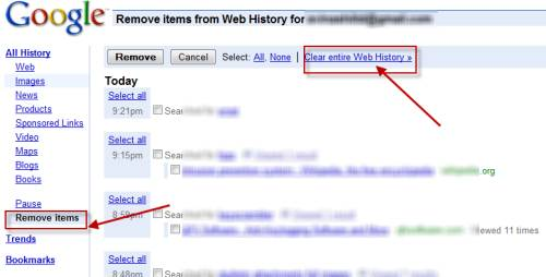 Google Search webHistory: some Facts and Remedies 8