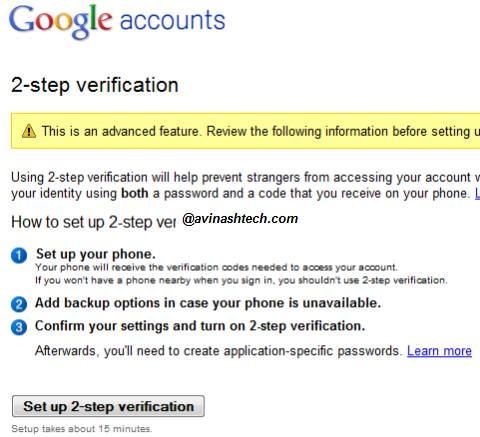 How to set up 2-step verification process for your Google Account 1