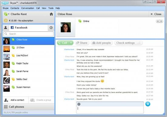 Use Facebook chat with Skype Desktop client 4