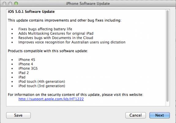 Apple rolls out iOS 5.0.1 to fix iOS5 Battery Issues [Direct Download links] 1