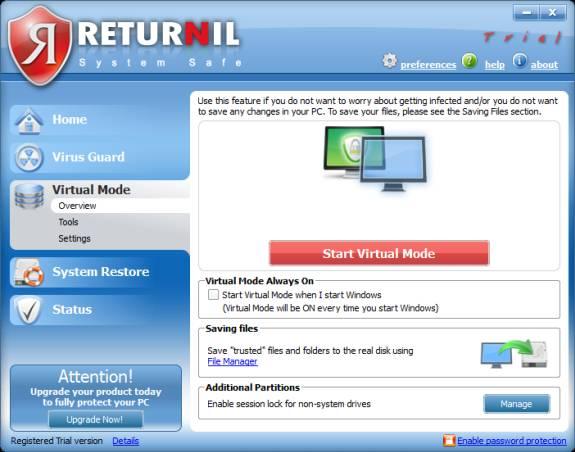 Returnil Virtual Mode