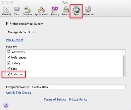 Firefox sync beta