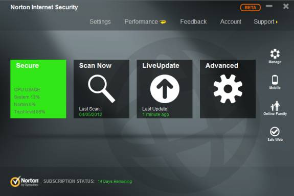 Norton Internet Security 2013 beta