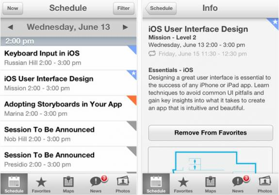 Apple WWDC 2012, June 13 schedule released with an iOS app 2