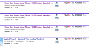iPhone 5 appears on ebay.in listings starting at Rs 76,000+ 2