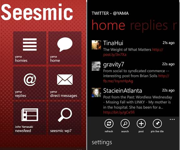 WP7SocialMango twitter - Download Seesmic twitter client for Windows Phone Mango