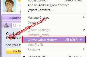 Yahoo Conversation history - How to disable Yahoo messenger online conversation history