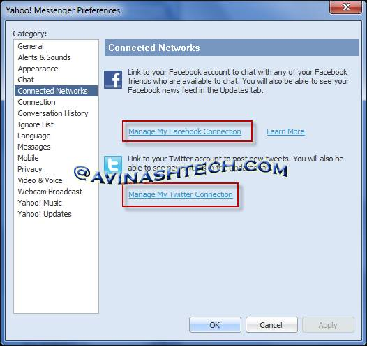Connect Facebook, twitter to Yahoo messenger 11