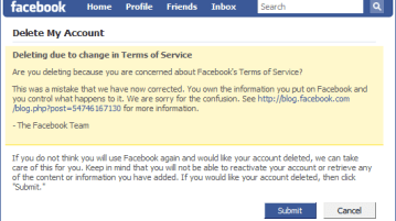 Facebook Backtracks : We Are Sorry, Don't Delete Account 5