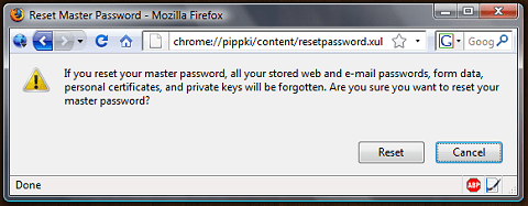 Reset / Recover Firefox Master Password