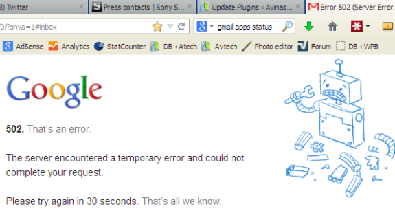 Gmail Down e1368433011802 - Gmail Down partially? Works in chrome but not in Firefox?