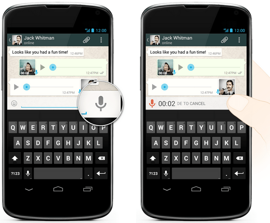 Whatsapp voice push to talk