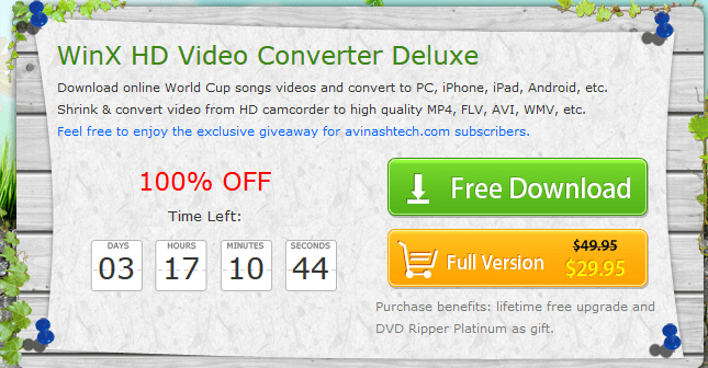 Winx HD Video convertor license giveaway - Giveaway : WinX HD Video Converter Deluxe unlimited license key