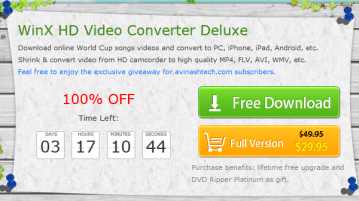 Giveaway : WinX HD Video Converter Deluxe unlimited license key 1