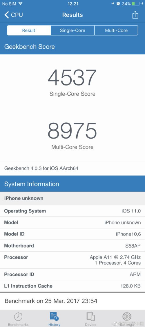 Alleged iPhone 8 / iPhone 10 Geekbench listing leaks 1