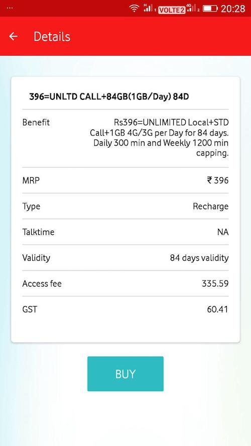 Vodafone 396 plan 84 GB - Vodafone copies Jio, Offers Rs. 396 Plan with 84GB 4G Data for 84 Days