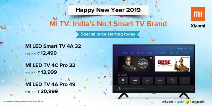 Xiaomi Mi TV Price drop