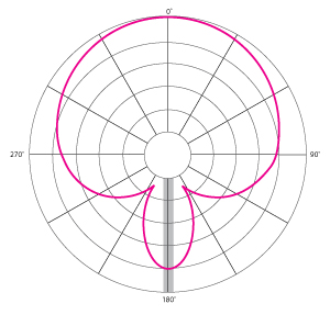 A hyper-cardioid pattern will pick up sounds from directly behind the mic in addition to the front.