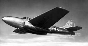 Bell P-59B Airacomet in flight. (U.S. Air Force photo)