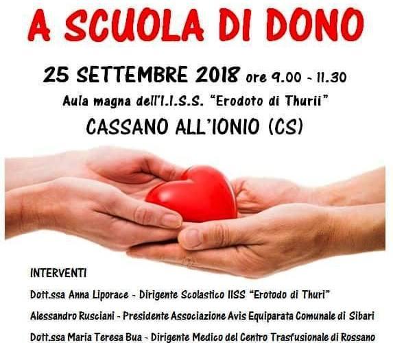 """""""A scuola di Dono"""": un evento dell'Avis Sibari a Cassano Ionio il 25 settembre 2018"""