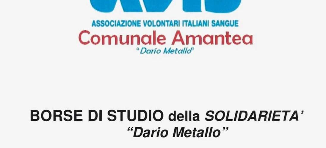 """Avis Amantea: Borsa di Studio della solidarietà """"Dario Metallo"""""""