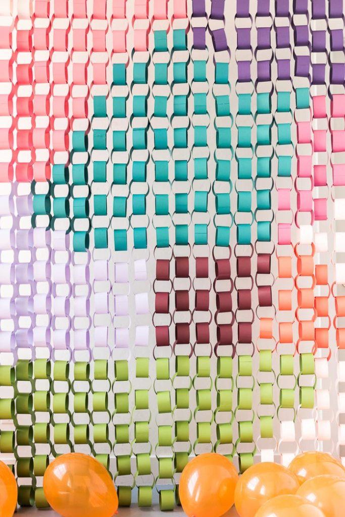 colourful paper chain hanging party backdrop