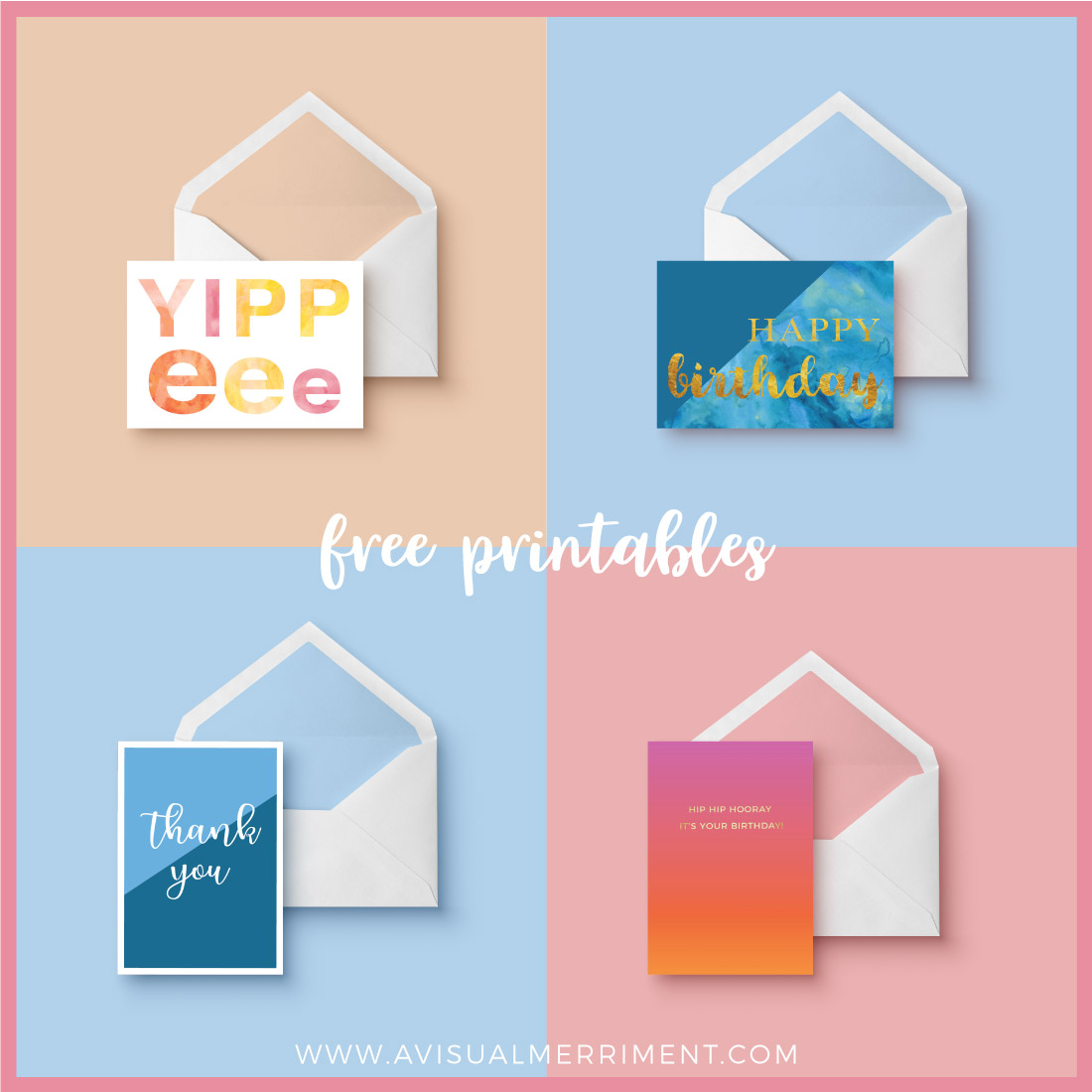 Multiple greeting card free printables to download from library