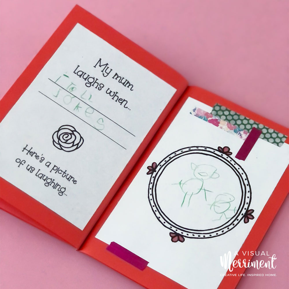 kids drawing in mother's day printable book gift