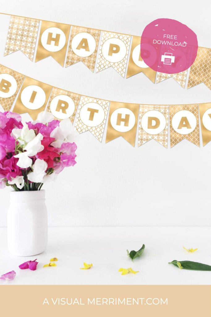 happy birthday banner and vase of flowers