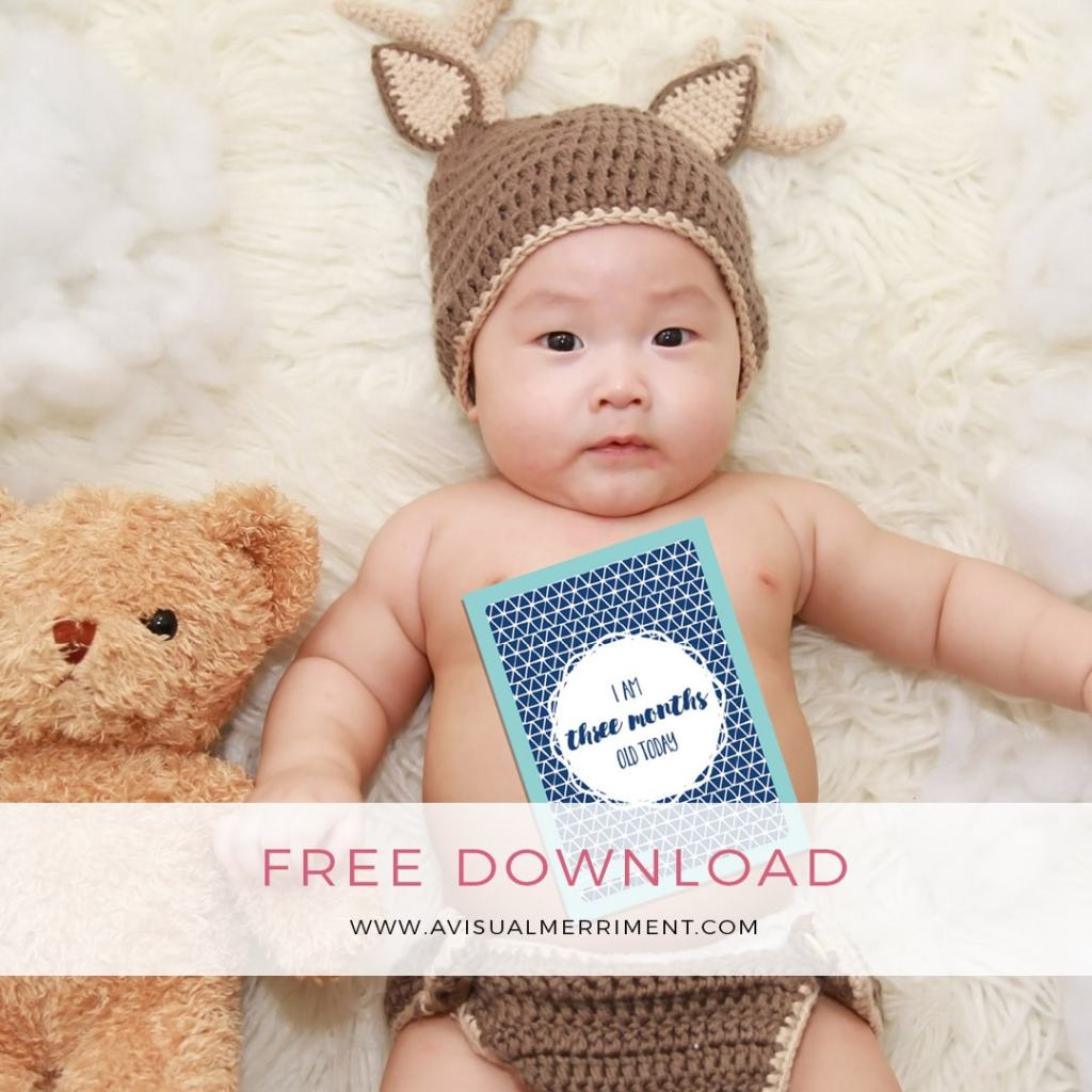 Baby boy photo shoot with free printable photo card props