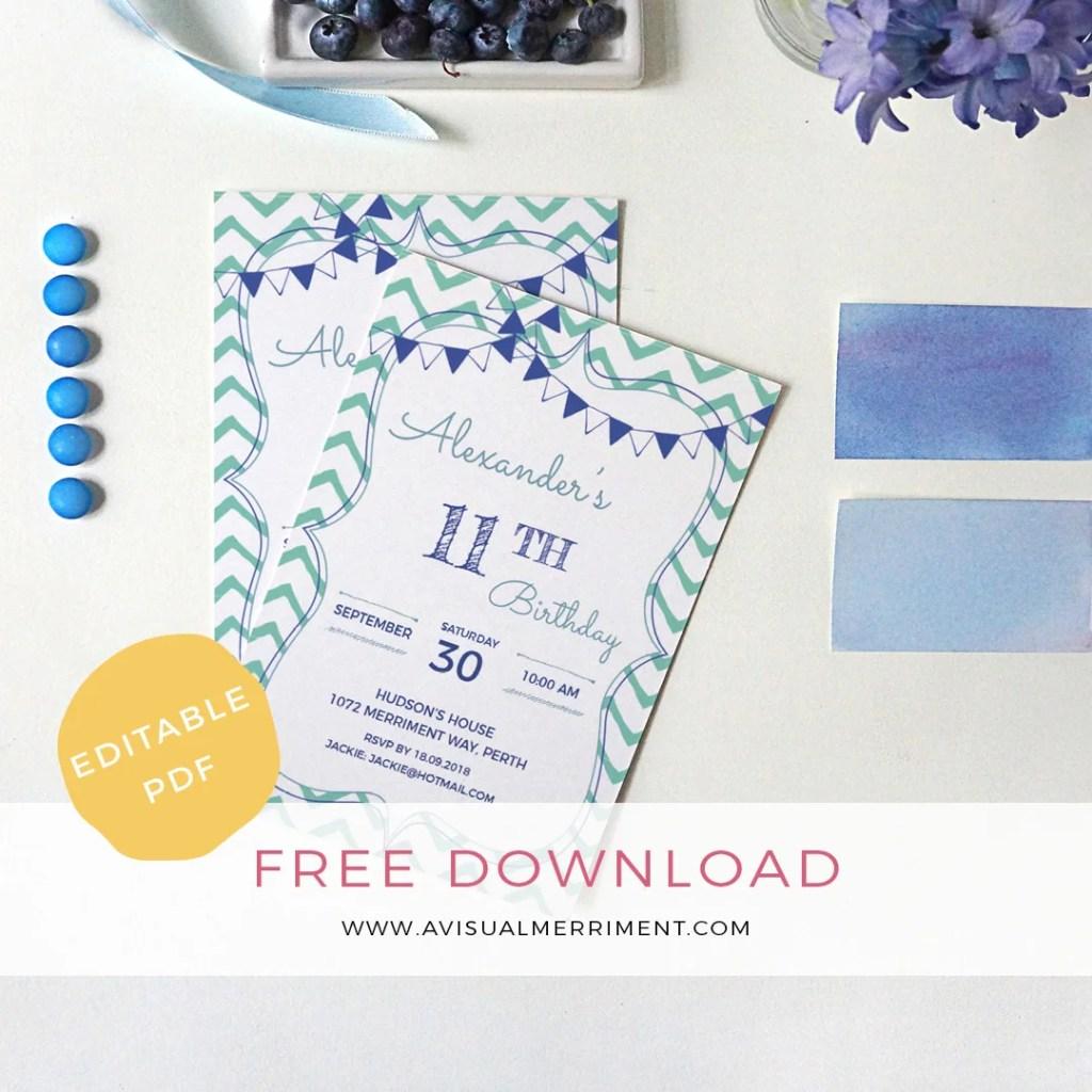 Free boy blue bunting green chevron editable birthday invitation printable download