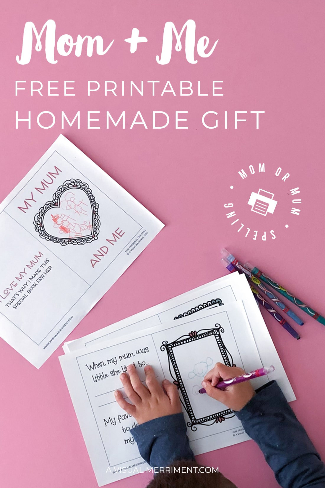 Mom and me printable homemade gift graphic with boy drawing