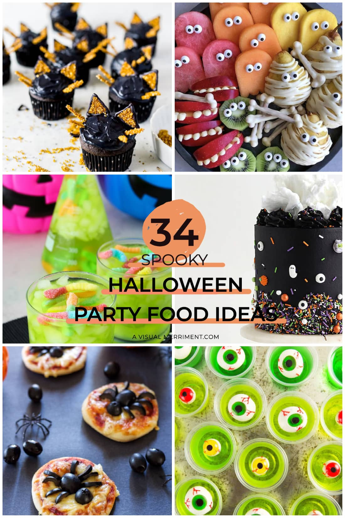 multi images of halloween party food ideas graphic
